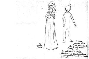 Un boceto de extraterrestre realido por una mujer que dice ser ajena a ella misma.
